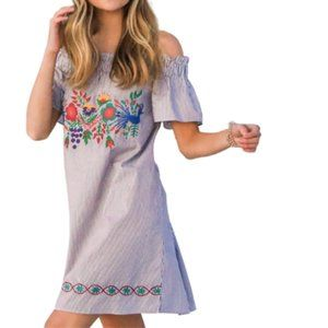 Judith March Embroidered Off The Shoulder Dress